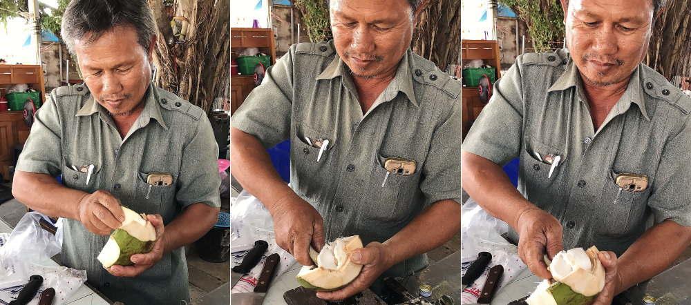 ココナッツの屋台のおじさん
