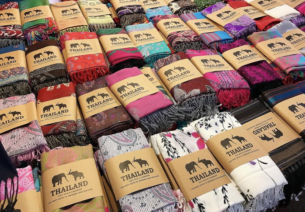 タイ ナイトマーケット タイシルク100% パシュミナ